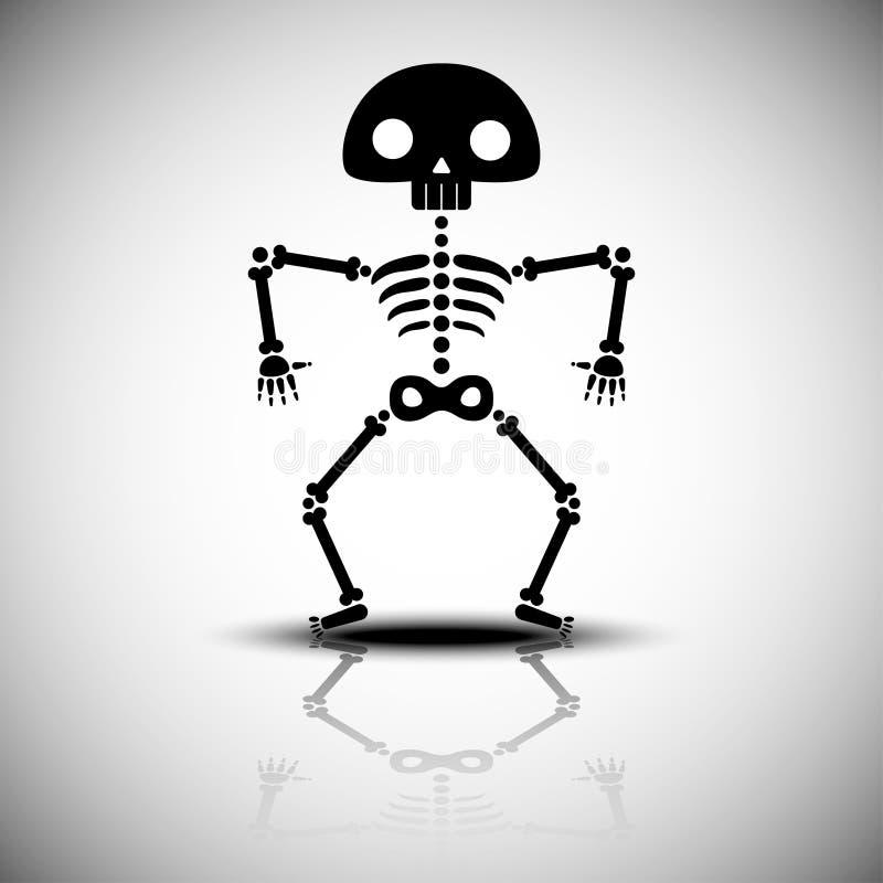 Esqueleto do Dia das Bruxas dos desenhos animados ilustração do vetor