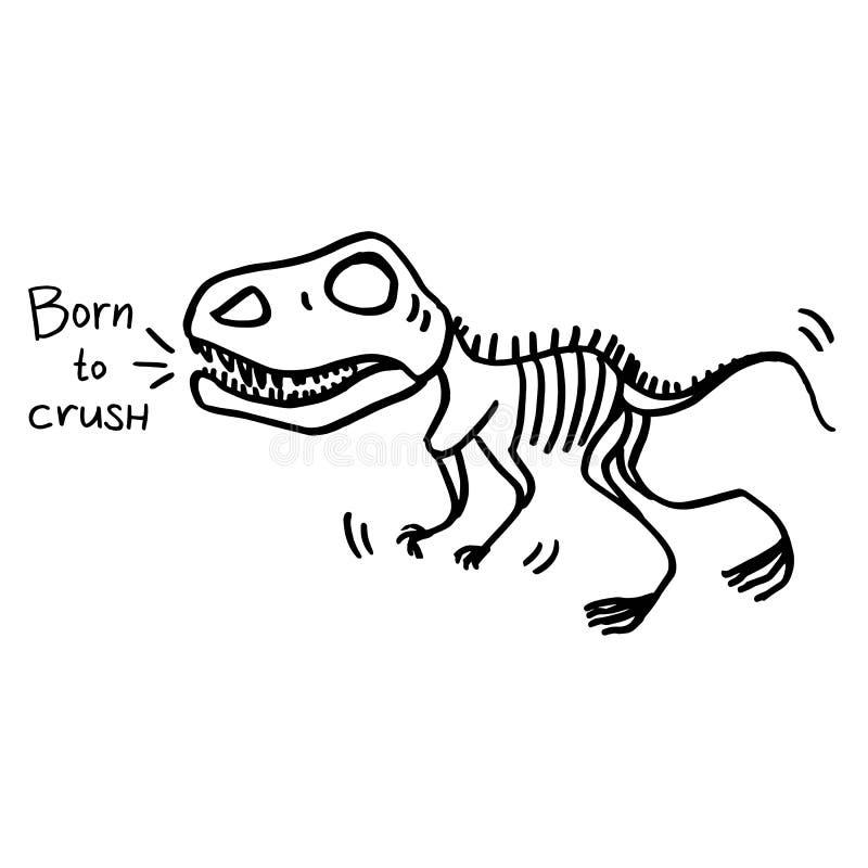 Esqueleto do dinossauro que é nascido para esmagar ilustração do vetor