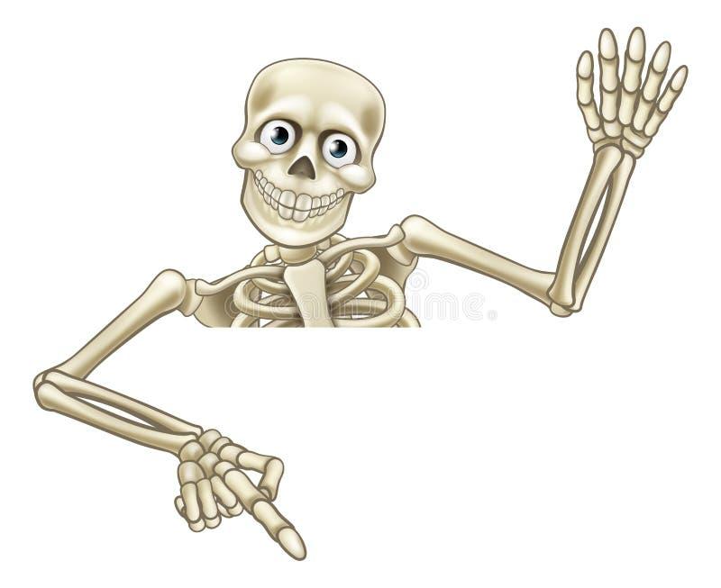 Esqueleto dos desenhos animados que aponta para baixo ilustração stock