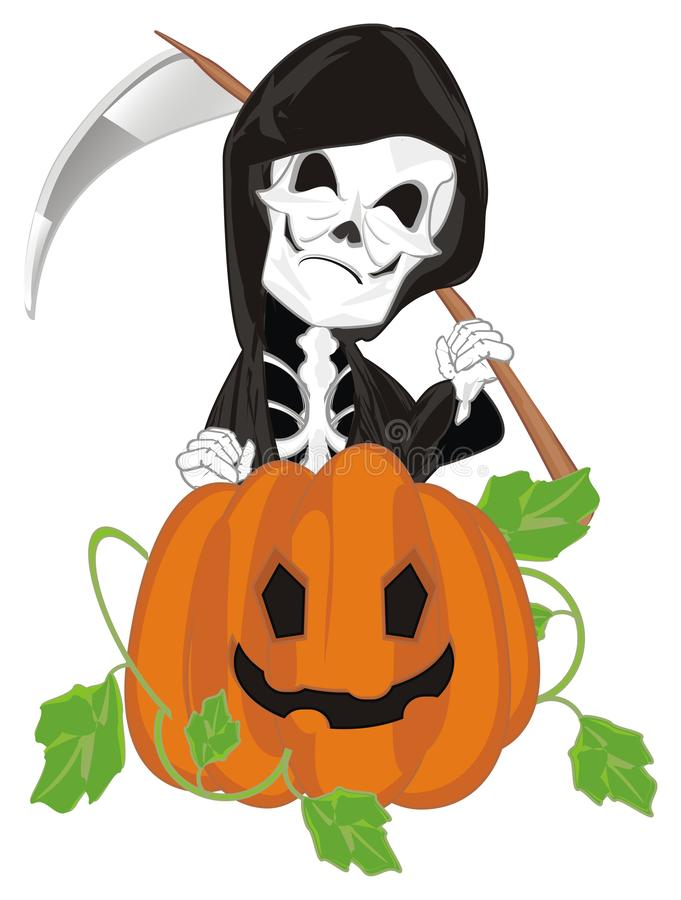 Esqueleto e abóbora maus ilustração do vetor