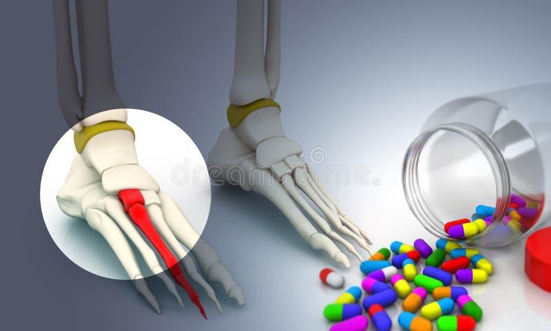 Esqueleto e comprimido do pé ilustração stock