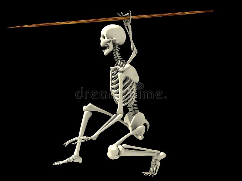 Esqueleto en una posición de la lucha ilustración del vector