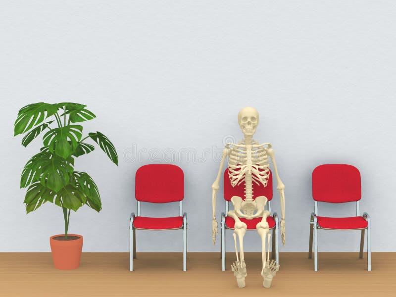 Esqueleto en una sala de espera ilustración del vector