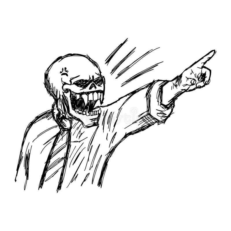 Esqueleto enojado dibujado mano del garabato del vector del ejemplo en negocio libre illustration