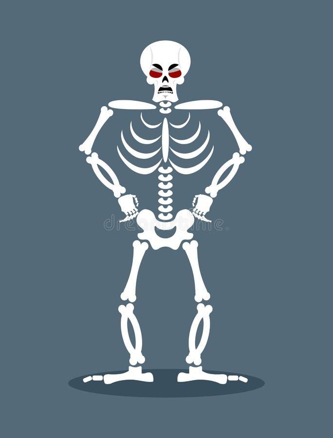 Esqueleto enojado Muertos agresivos Cráneo y huesos malvados stock de ilustración