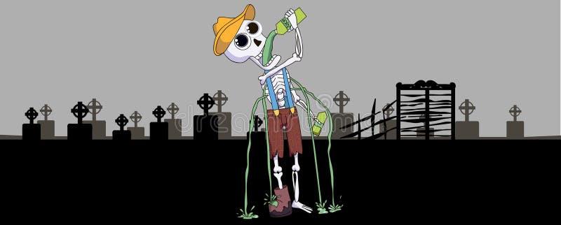 Esqueleto feliz de Víspera de Todos los Santos stock de ilustración