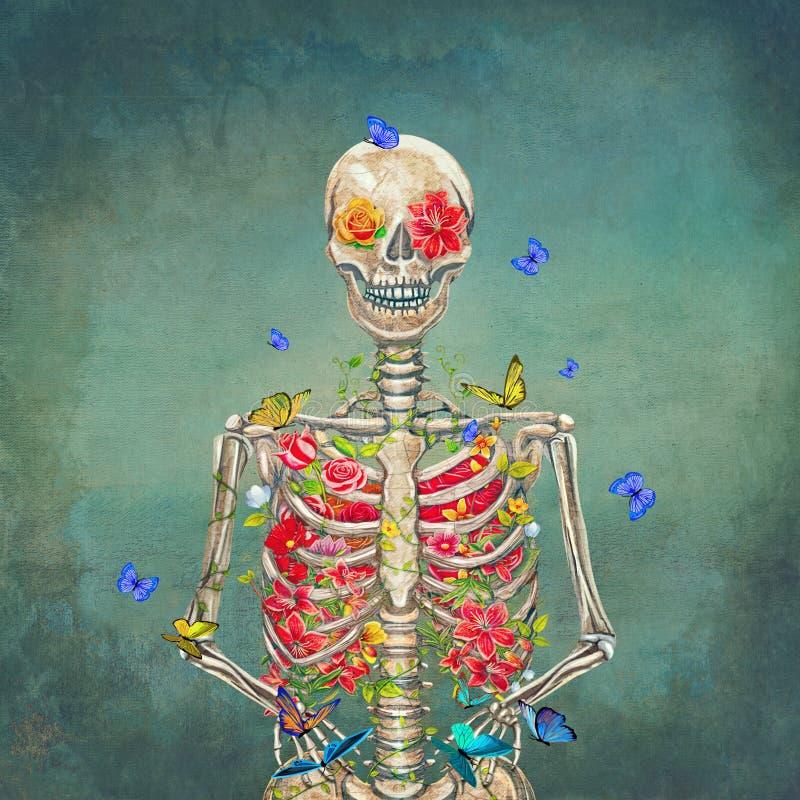 Esqueleto floreciente en el fondo del grunge con las mariposas ilustración del vector