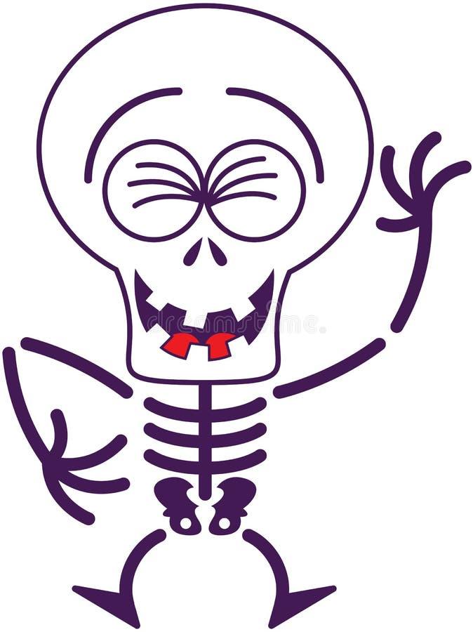 Esqueleto fresco de Halloween que ríe entusiasta ilustración del vector