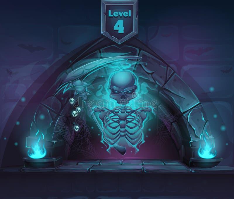 Esqueleto mágico com a foice no portal ilustração do vetor
