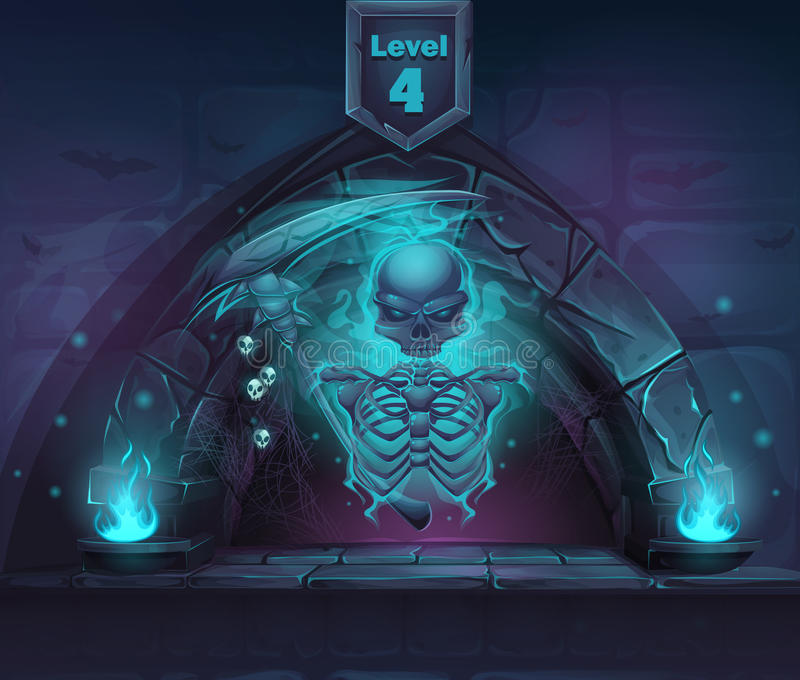 Esqueleto mágico con la guadaña en portal ilustración del vector
