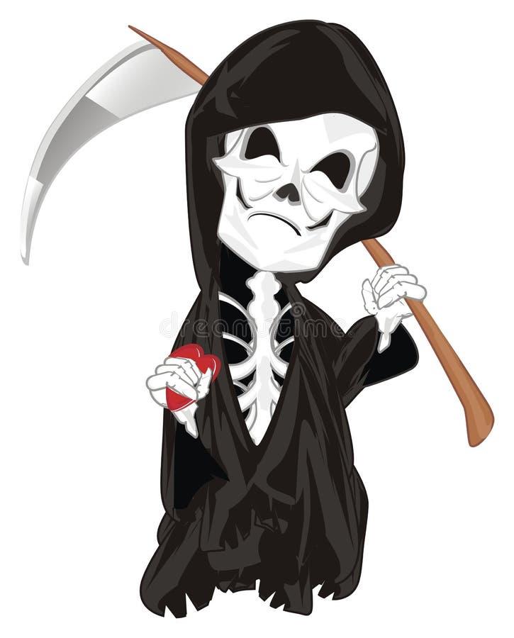 Esqueleto malvado con el corazón ilustración del vector