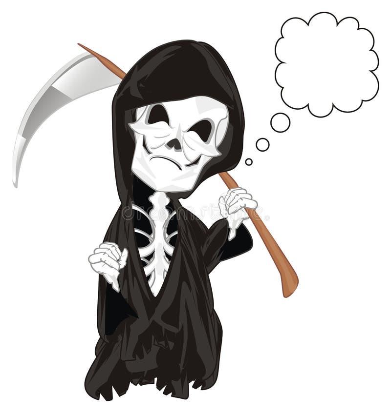 Esqueleto malvado con nota a pie de página stock de ilustración