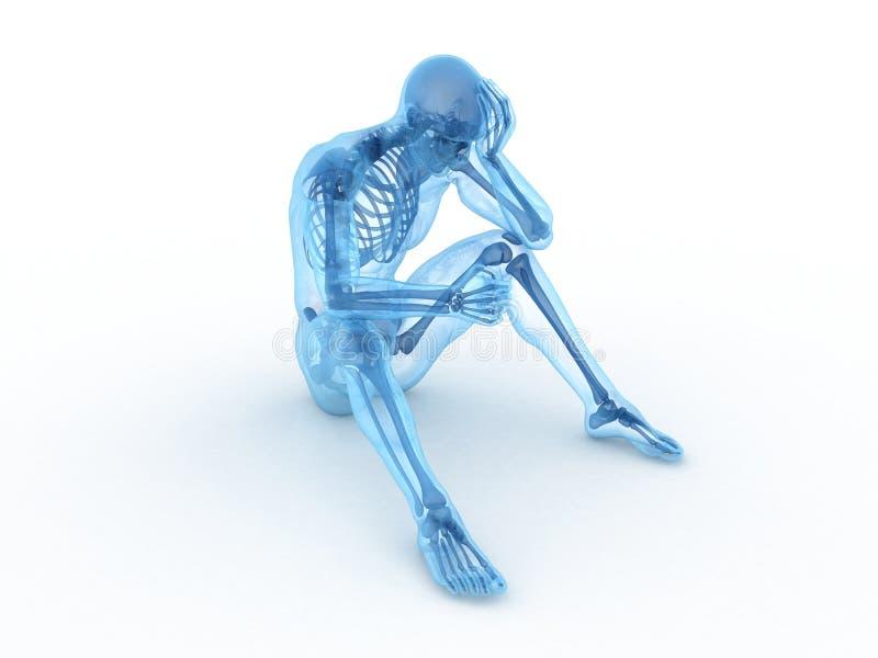 Esqueleto masculino de assento ilustração do vetor