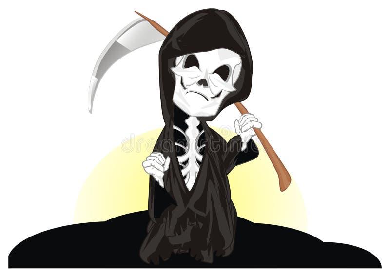 Esqueleto mau e nascer do sol ilustração royalty free