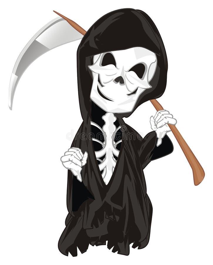 Esqueleto mau e sorrindo ilustração do vetor