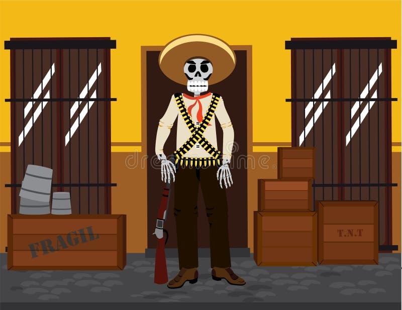 Esqueleto mexicano ilustração do vetor