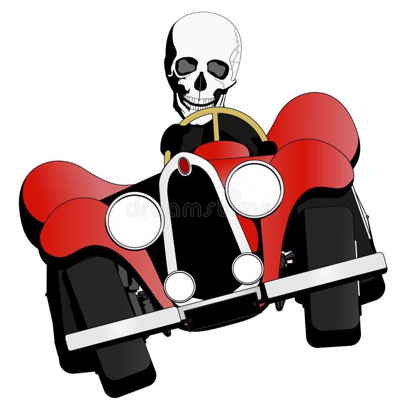 Esqueleto que conduce el coche ilustración del vector