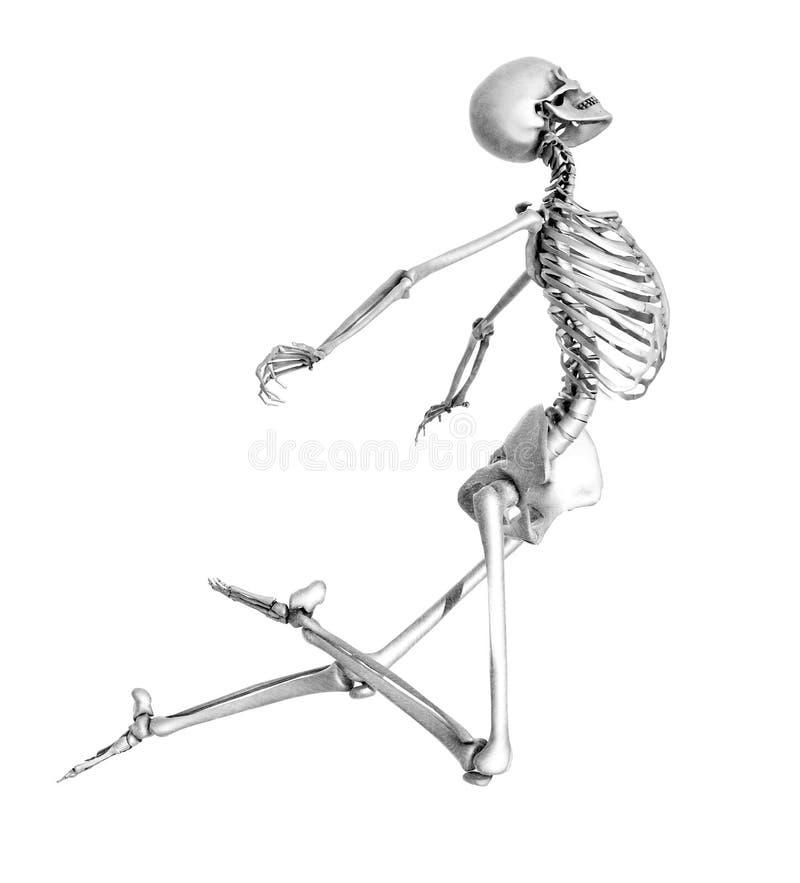 Esqueleto que pula - estilo do desenho de lápis ilustração stock