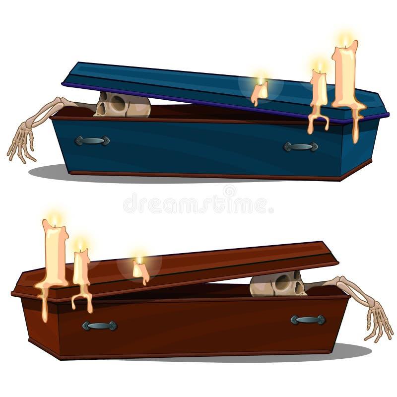 Esqueleto que sale del ataúd de madera con las velas Ejemplo en la historieta para el día de fiesta Halloween o los proyectos tem ilustración del vector