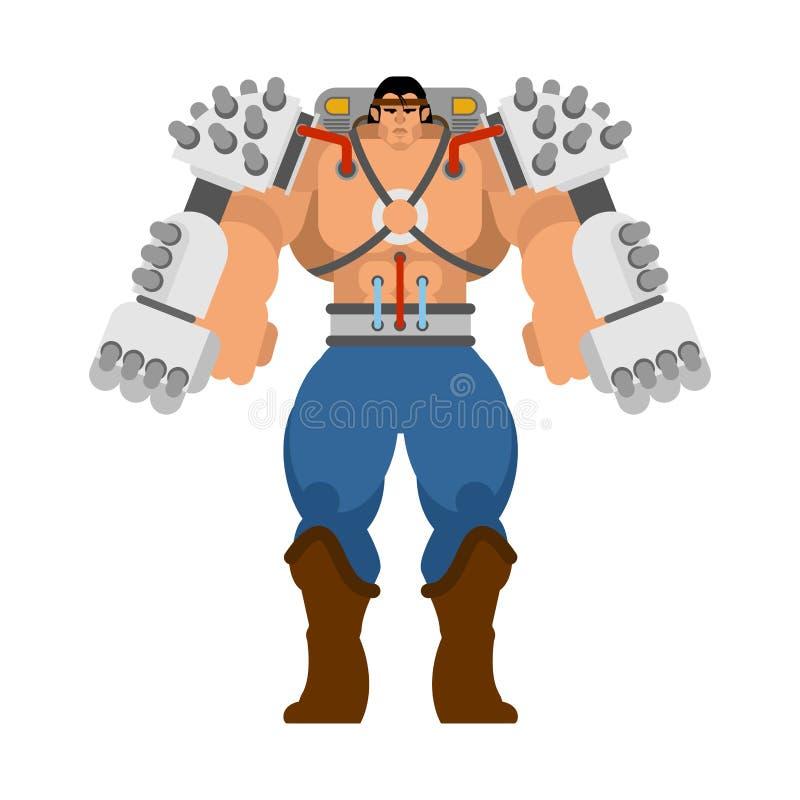 Esqueleto robótico da tecnologia mecânica do Exoskeleton Robô do terno do ferro Cyborg metálico da roupa Ilustração do vetor ilustração do vetor