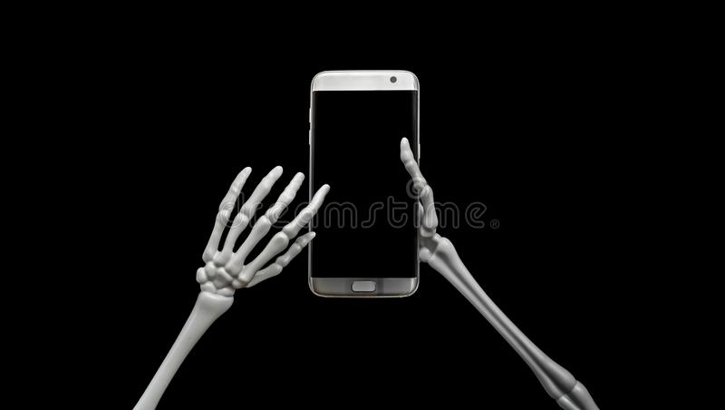 Esqueleto usando el teléfono celular fotos de archivo libres de regalías