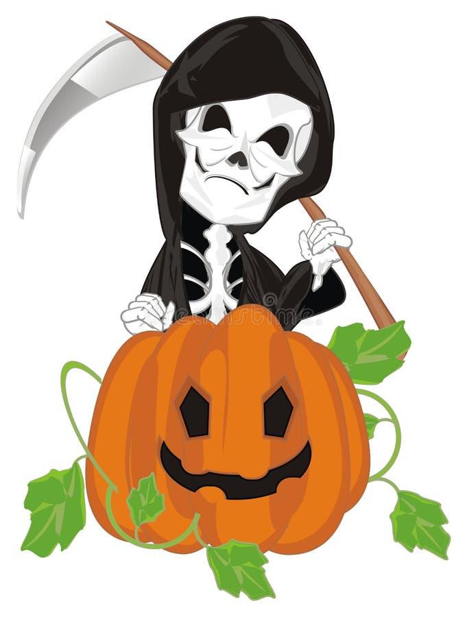 Esqueleto y calabaza malvados ilustración del vector