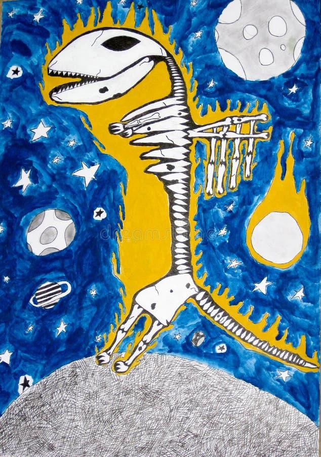 Esqueleto y espacio, gráficos del dinosaurio de la fantasía imagen de archivo