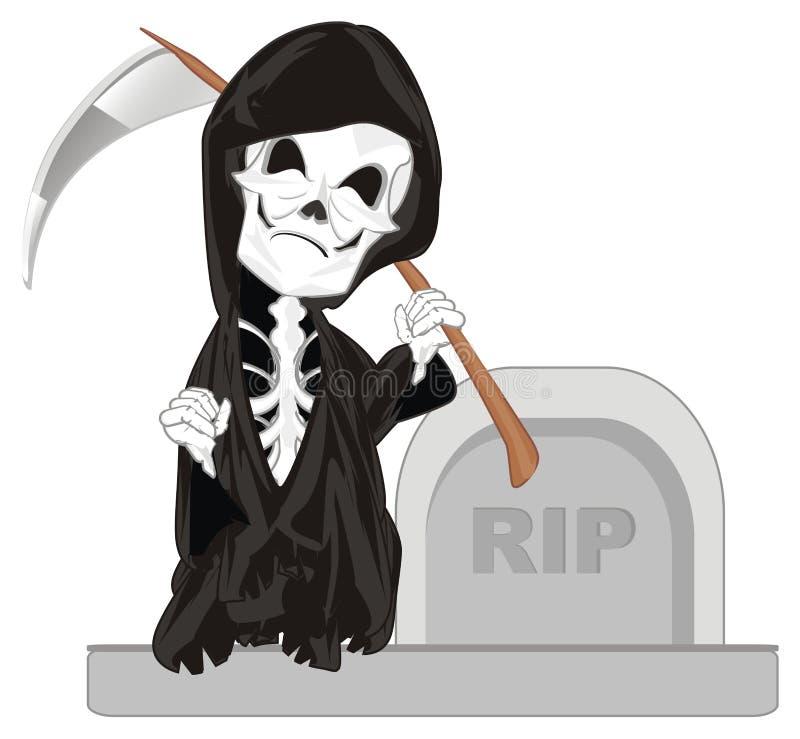 Esqueleto y sepulcro malvados stock de ilustración