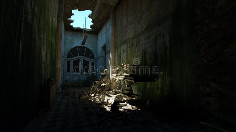 Esqueletos assustadores no hospital velho, morgue Conceito do horror do apocalipse rendição 3d ilustração stock