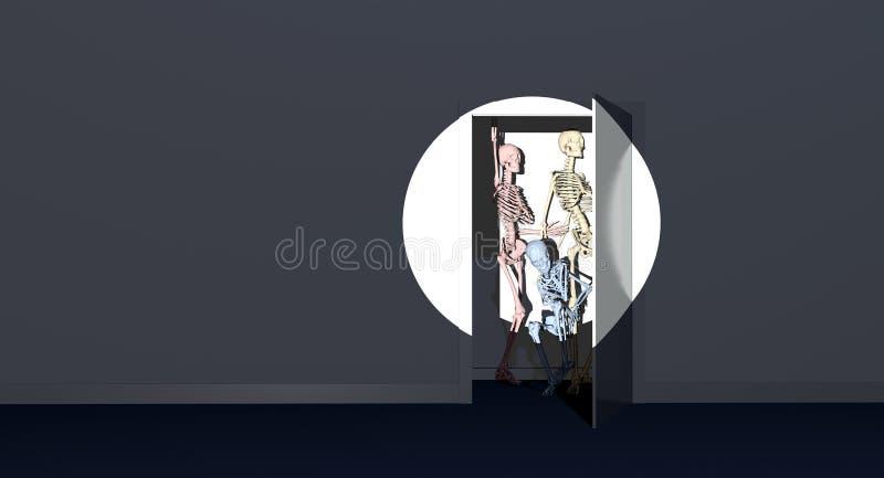 Esqueletos do armário ilustração do vetor