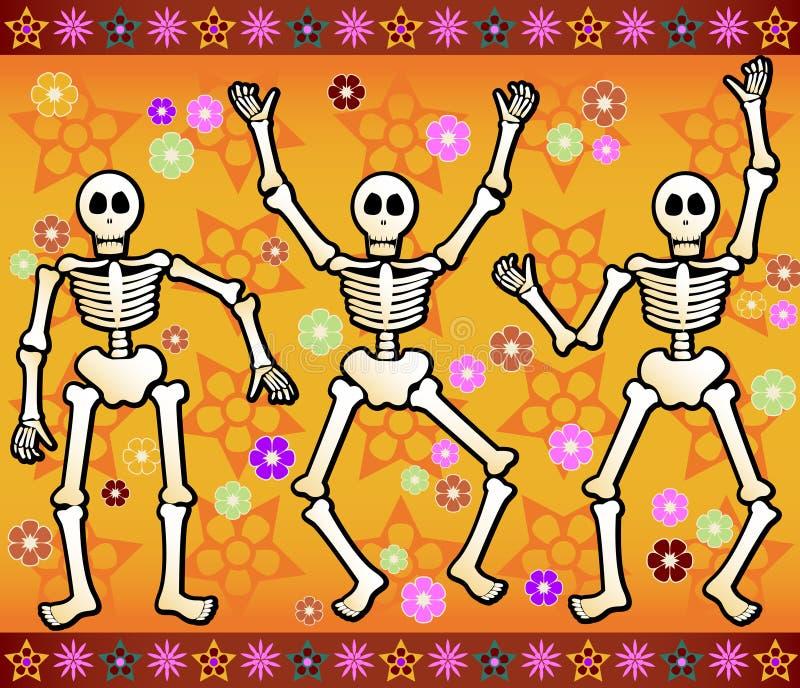Esqueletos festivos stock de ilustración