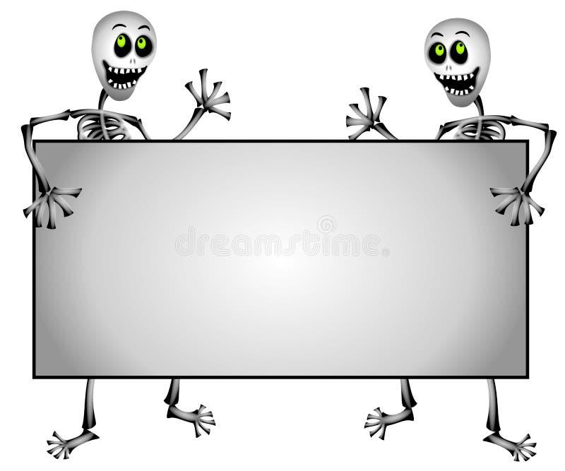 Esqueletos que prendem o sinal em branco ilustração do vetor