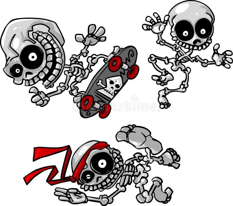 Esqueletos selvagens dos desenhos animados do vetor ilustração do vetor