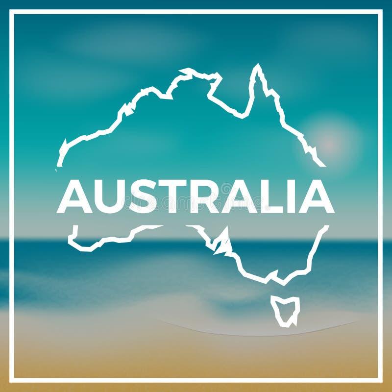 Esquema áspero del mapa de Australia contra el contexto ilustración del vector