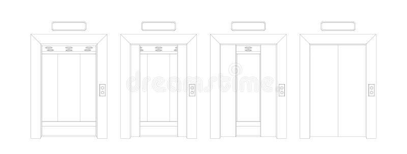 Esquema abierto y puertas cerradas del elevador Ejemplo del vector de la puerta de la vista delantera ilustración del vector