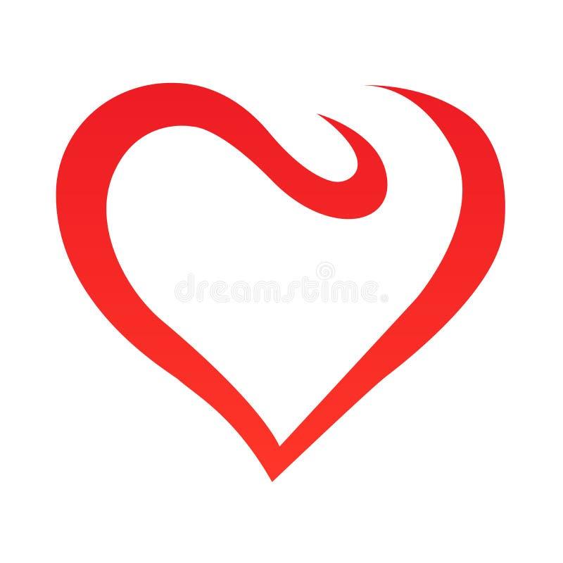 Esquema abstracto de la forma del corazón Ilustración del vector Icono rojo del corazón en estilo plano El corazón como símbolo d stock de ilustración
