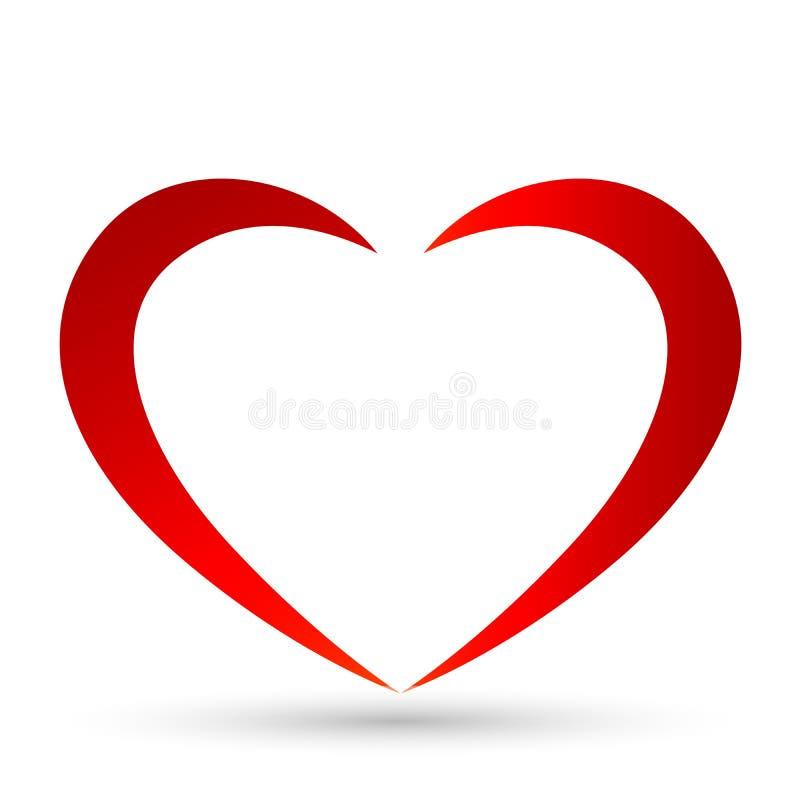 Esquema abstracto del corazón de línea roja Icono del vector en estilo plano El corazón es un símbolo de amor sobre fondo blanco stock de ilustración
