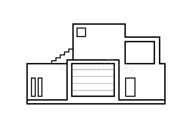 Esquema abstracto del icono, ejemplo moderno del vector del edificio de oficinas stock de ilustración