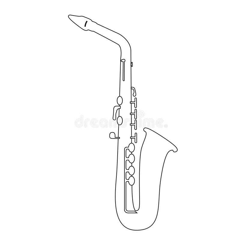 Esquema aislado del saxofón ilustración del vector