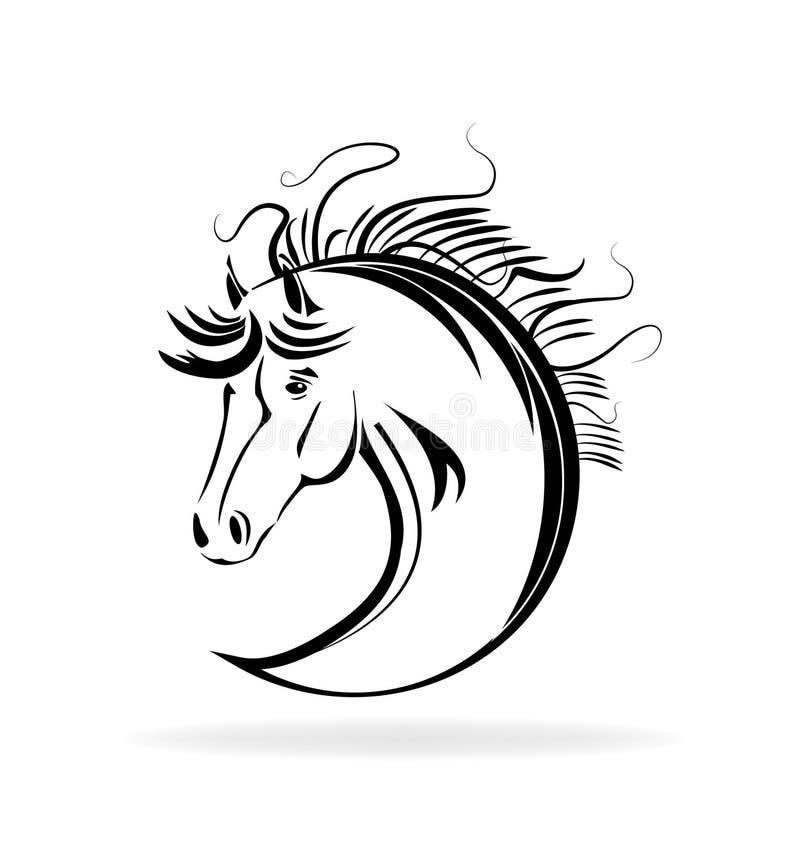 Esquema animal del retrato del caballo, vector del icono stock de ilustración