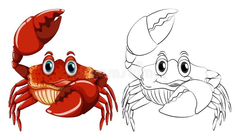 Esquema animal para el cangrejo ilustración del vector