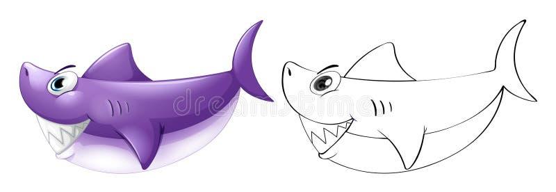 Esquema animal para el tiburón ilustración del vector