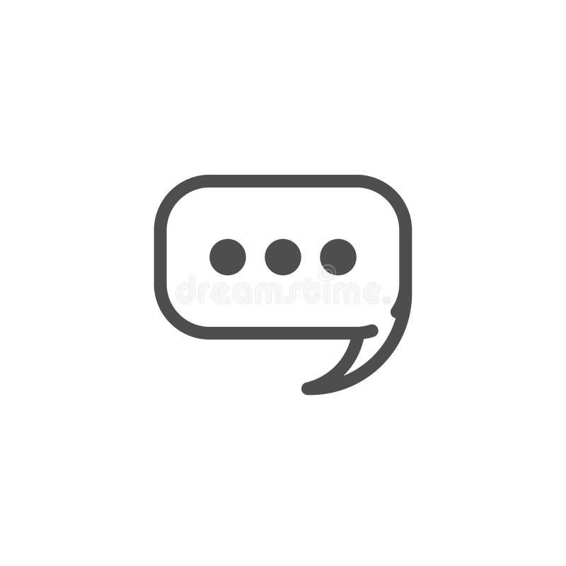 Esquema blanco de la burbuja del discurso de la charla con los puntos aislados en el fondo blanco Icono plano del vector stock de ilustración