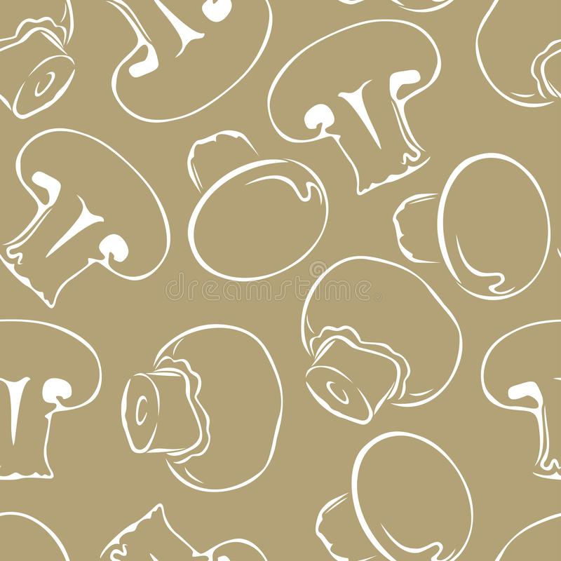 Esquema blanco de la seta en fondo gris Ejemplo monocromático del vector de champiñones libre illustration
