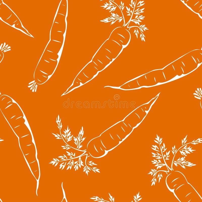 Esquema blanco de la zanahoria en un fondo anaranjado Modelo incons?til de las verduras frescas stock de ilustración