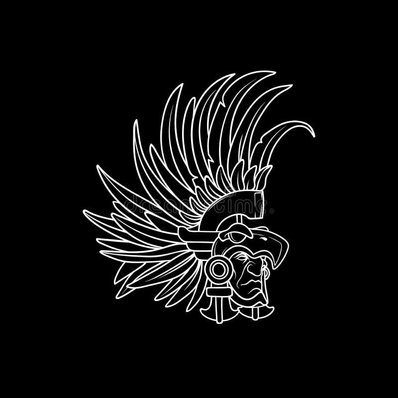 Esquema blanco en el fondo negro, guerrero tribal que lleva el casco hermoso con las plumas largas fotos de archivo