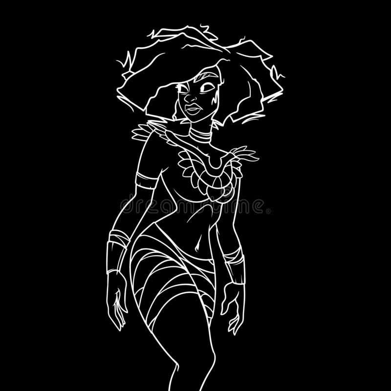 Esquema blanco en fondo negro, mujer tribal antigua con la figura que sorprende y peinado foto de archivo