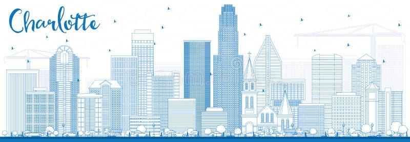 Esquema Charlotte Skyline con los edificios azules stock de ilustración