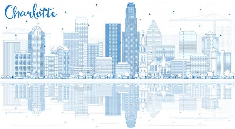 Esquema Charlotte Skyline con los edificios azules y las reflexiones ilustración del vector