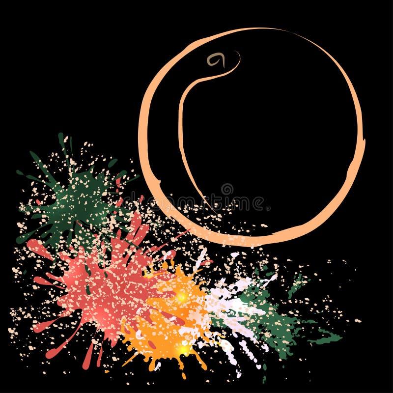 Esquema coloreado del melocotón con las manchas blancas /negras, ejemplo del vector fotografía de archivo